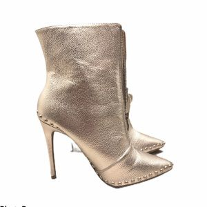 Women's Wild Diva Metal High Heel Boots Silver 7.5